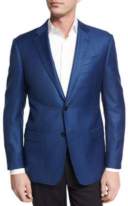 Armani Collezioni Houndstooth Wool Two-Button Sport Coat, Bright Navy
