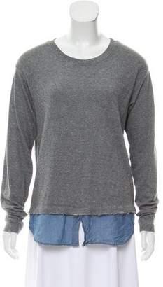 Current/Elliott Layered Crew Neck Sweatshirt