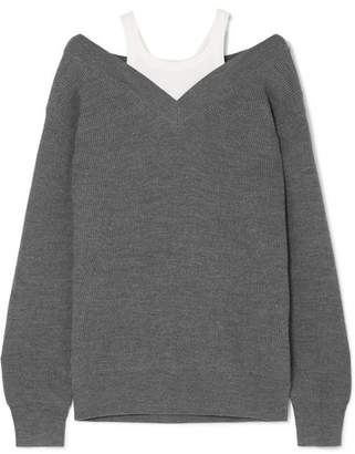 Alexander Wang Layered Ribbed Merino Wool-blend And Cotton Sweater - Charcoal