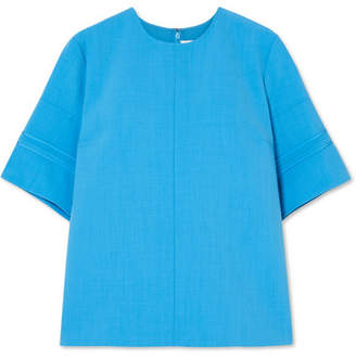 Victoria Beckham Victoria, Silk-trimmed Canvas Top - Light blue