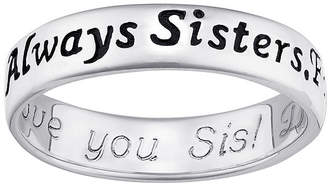 Forever Friends FINE JEWELRY Personalized Sterling Silver Always Sisters, Engraved Ring
