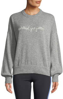 Spiritual Gangster Signature Embroidered Balloon-Sleeve Sweater