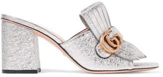 Gucci Marmont Fringed Logo-embellished Metallic Cracked-leather Mules - Silver