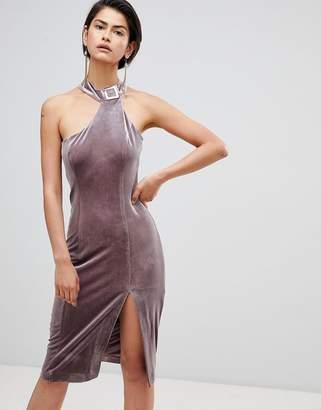 Forever Unique Velvet High Neck Assymetric Dress
