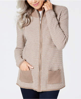 Karen Scott Textured Zip-Front Cardigan