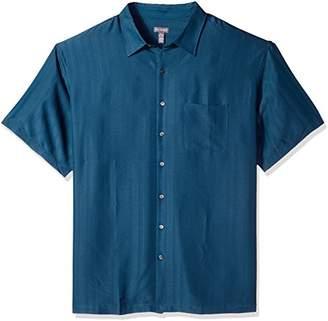 Van Heusen Men's Tall Size Big Poly Rayon Short Sleeve Button Down Shirt