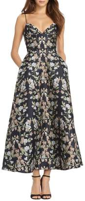 ML Monique Lhuillier Floral Jacquard Maxi Dress