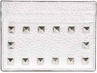 Valentino Rockstud Metallic Leather Card Holder