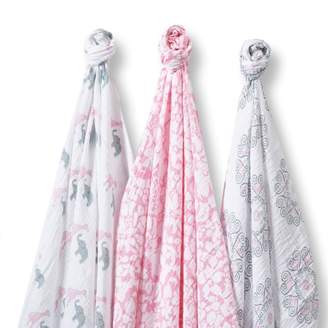 Swaddle Designs Marquisette Swaddle Blankets, Premium Cotton Muslin, SwaddleLite Set of 3, Pink Lush