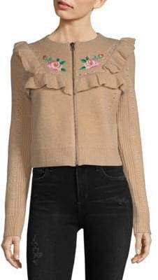 Wildfox Couture Ruffle Embroidered Jacket