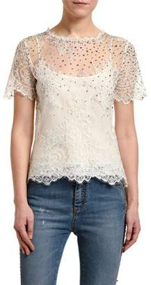 Ermanno Scervino Embellished Lace Illusion Top
