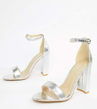 8e83851a2b71 Barely There Glamorous Wide Fit Silver Block Heeled Sandals