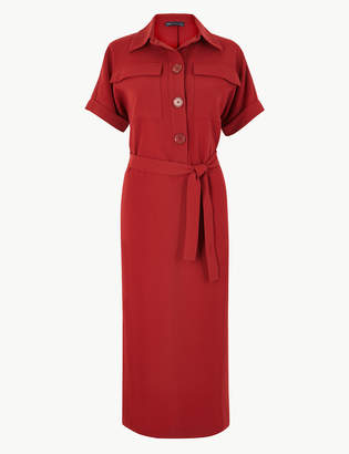 Marks and Spencer Crepe Tie Front Maxi Shirt Dress