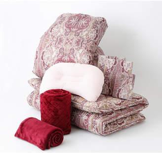 Nishikawa レッド 羽毛掛けふとん、敷きふとん、枕、カバー、毛布、敷きパッドまで揃ったお買い得シングルサイズ 8点セット