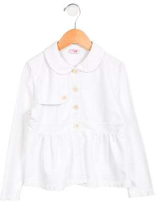 Il Gufo Girls' Knit Peter Pan Collar Jacket