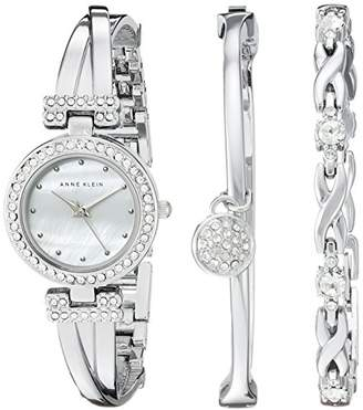 Anne Klein Women's AK/1869SVST Swarovski Crystal-Accented -Tone Bangle Watch and Bracelet Set