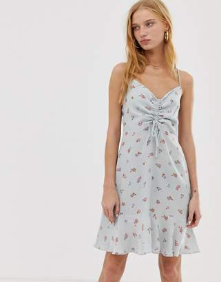 Warehouse ditsy print ruched dress in pale blue