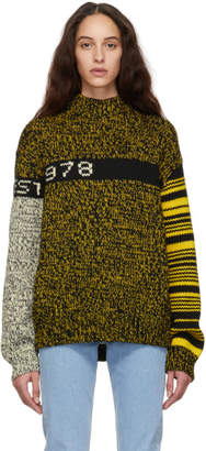 Calvin Klein Jeans Est. 1978 Black and Yellow Wool Sweater