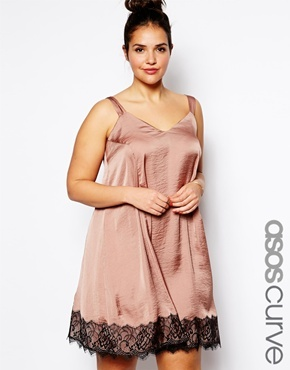 Asos Exclusive Swing Dress With Lace Hem - Dusky pink