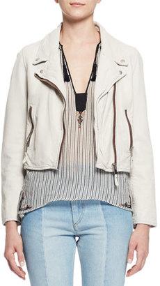 Etoile Isabel Marant Aken Cropped Leather Jacket, Chalk $910 thestylecure.com