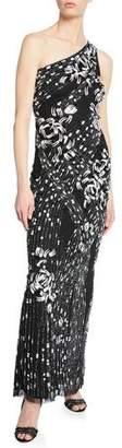 Parker Black Tasha One-Shoulder Sleeveless Beaded Column Dress