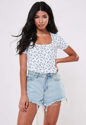 Missguided Floral Rib Scoop Neck T Shirt