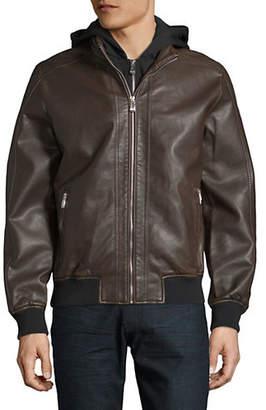 Point Zero Faux-Leather Bomber Jacket