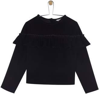 Next Girls Outfit Kids Velvet Ruffle Top