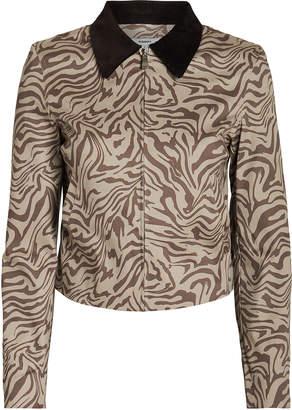 Miaou Kai Zebra Print Denim Jacket