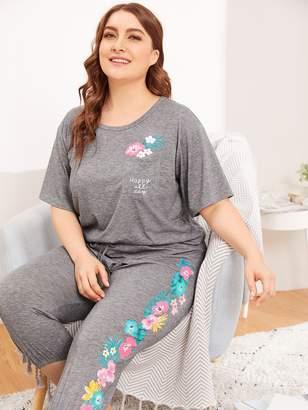 Shein Plus Pocket Front Floral Top & Pants PJ Set