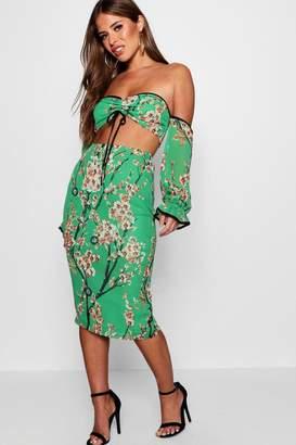 boohoo Petite Floral Print Bardot Crop & Skirt Co-Ord