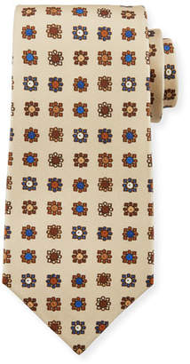 Kiton Circle in Box Silk Tie, Beige