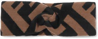 Fendi Intarsia-knit Headband - Camel