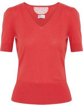 RED Valentino Point D'esprit-Paneled Cashmere And Silk-Blend Sweater