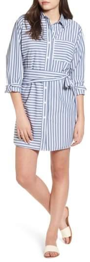 The Alda Stripe Belted Shirtdress