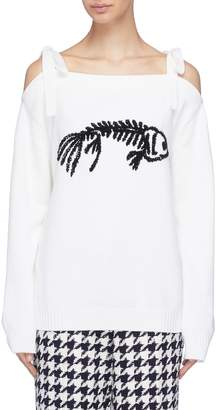 Oscar de la Renta Sequinned fishbone cold shoulder wool sweater