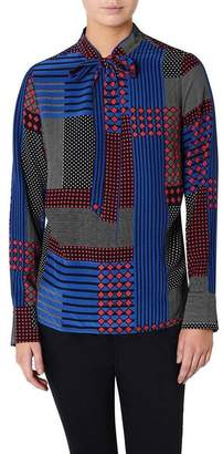 Checkerboard Pussy's Bow Blouse