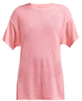 The Elder Statesman Cashmere And Silk Blend T Shirt - Womens - Pink