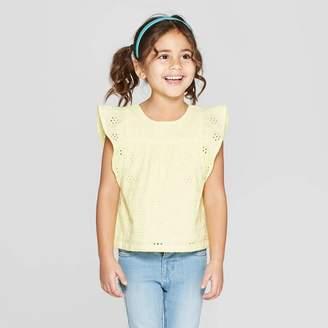 Cat & Jack Toddler Girls' Short Sleeve Woven Blouse Yellow
