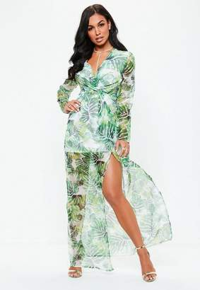Missguided Green Palm Print Plunge Wrap Front Maxi Dress