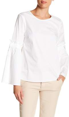 Cynthia Steffe CeCe by Tie Bell Sleeve Poplin Blouse