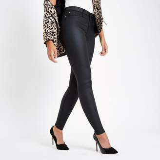 River Island Womens Black coated Molly jeggings