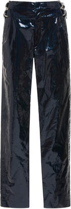 Isabel Marant Ennya Coated Cotton And Linen-Blend Skinny Pants