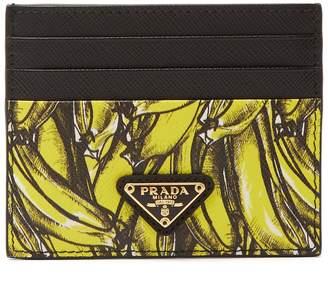 Prada Banana-print saffiano-leather card holder