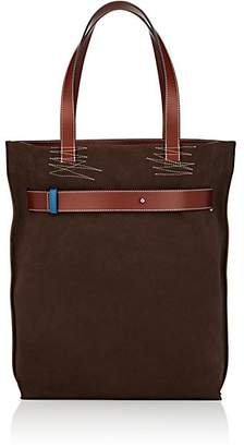Loewe Men's Leather-Trimmed Suede & Canvas Tote Bag - Choc Brown