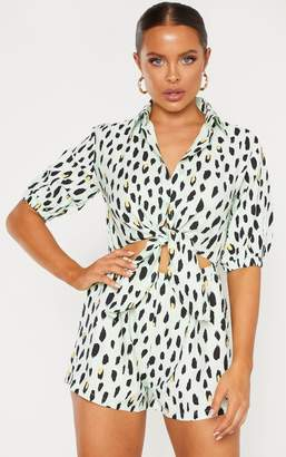 PrettyLittleThing Mint Print Cut Out Shirt Detail Playsuit