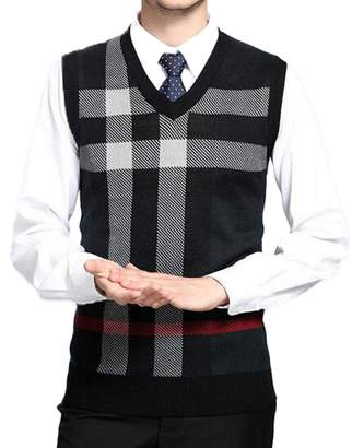 DD.UP Men's V-Neck Casual Stripe Plaid Slim Fit Sweater Vest
