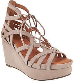 Kenneth Cole Gentle Souls by Gentle Souls Leather Lace-up Wedge Sandals -Joy