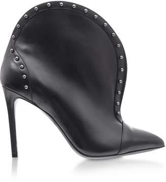 Balmain Iren Black Leather Pointed Toe High Heel Booties W/studs