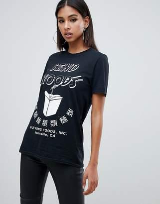 Missguided send noods slogan t - shirt in black
